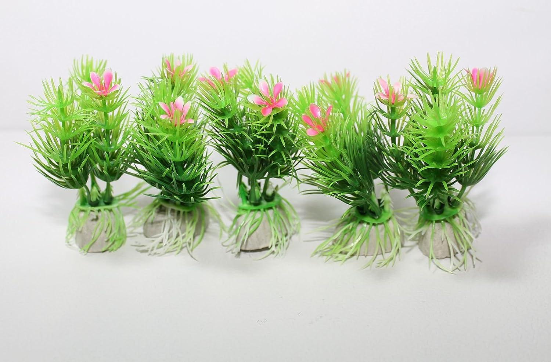 Kathy Mall 5pcs Fish Tank Aquarium Decor Plastic Bright Green Pink Ornaments 3.5inch High