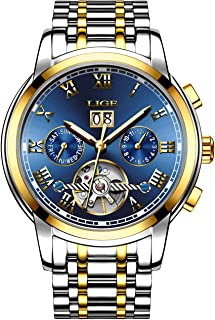 Affute Mens Automatic Mechanical Wrist Watches Stainless Steel Date Skeleton Tourbillon Watch