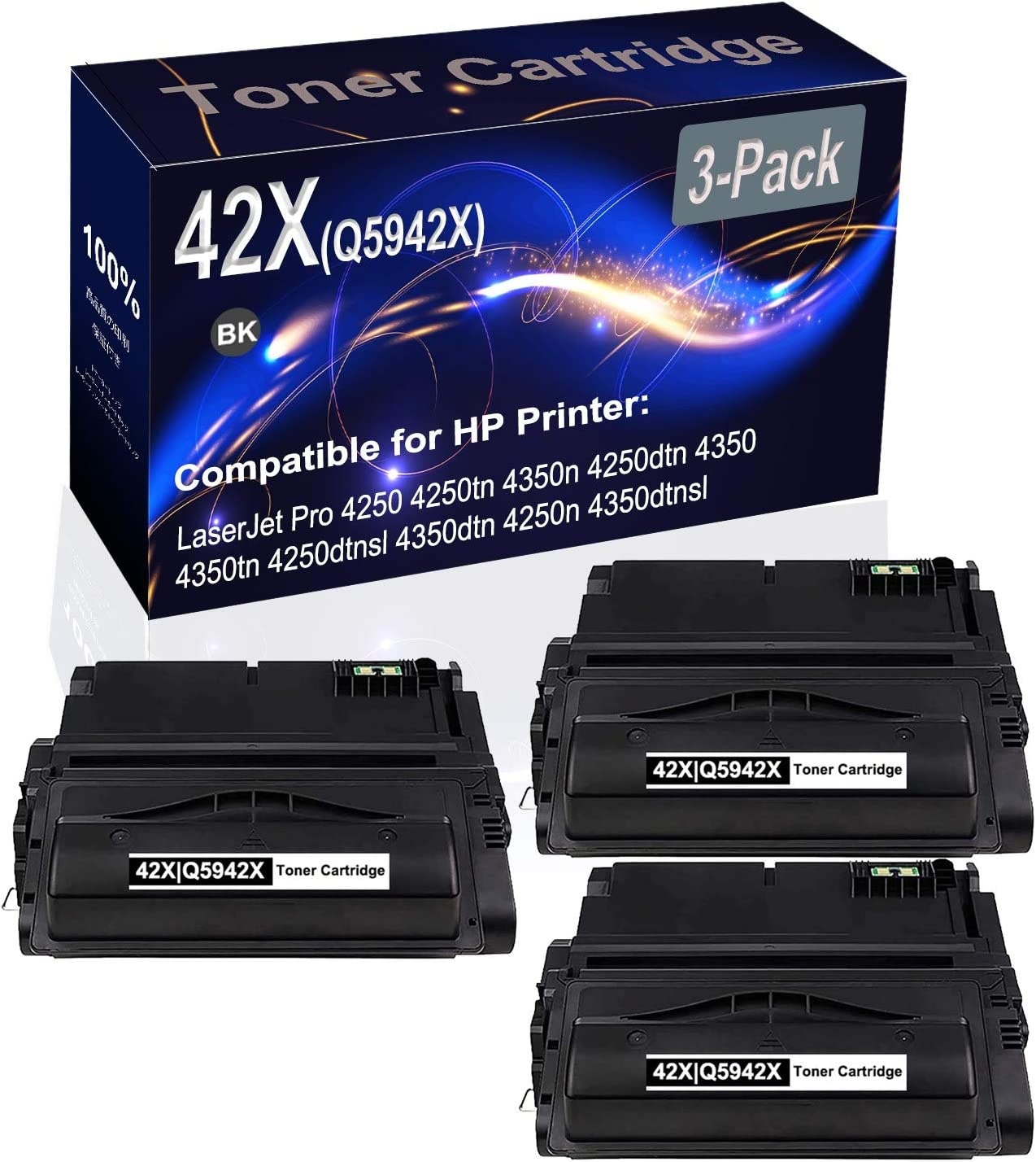 3-Pack (Black) Compatible 42X Q5942X Printer Toner Cartridge (High Capacity) fit for HP 4250 4250tn 4350n 4250dtn 4350 4350tn Printer