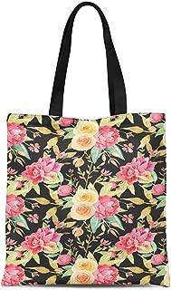 S4Sassy Gray Leaves & Ranunculus Floral Printed Re-Usable Tote Bag Women Shoulder Handbag Travel Shopping Bag 16x12 Inches