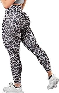 YOFIT Womens Ruched Butt Lifting Leggings High Waisted Tummy Control Animal Print Yoga Pants, Leopard, X-Large