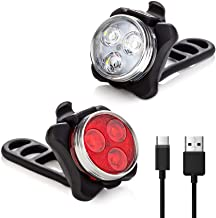 Vont 'Pyro' Bike Light Set, USB Rechargeable, Super Bright Bicycle Light, Bike Lights Front and Back, Bike Headlight, 2X Longer Battery Life, Waterproof, 4 Modes (2 Cables, 4 Straps)