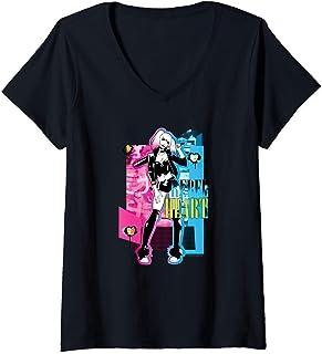 Femme Batman Harley Quinn Rebel Heart T-Shirt avec Col en V