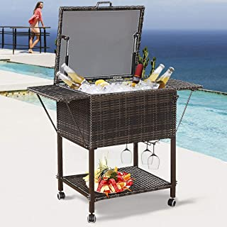 HAPPYGRILL Rattan Cooler Cart, Portable Wicker Cooler Trolley for Outdoor Drinks Beer Beverage Ice Chest Cart Cooler