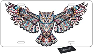 WONDERTIFY Tribal Aztec Owl License Plate,African Indian Totem Tattoo Design Decorative Car Front License Plate Metal Car Plate,Aluminum Novelty License Plate,6 X 12 Inch