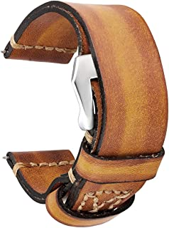Vintage Double Layer Leather Watch Bands 18mm 20mm 22mm 24mm 26mm Watch Strap Special Design Pilot Strap Hidden Buckle
