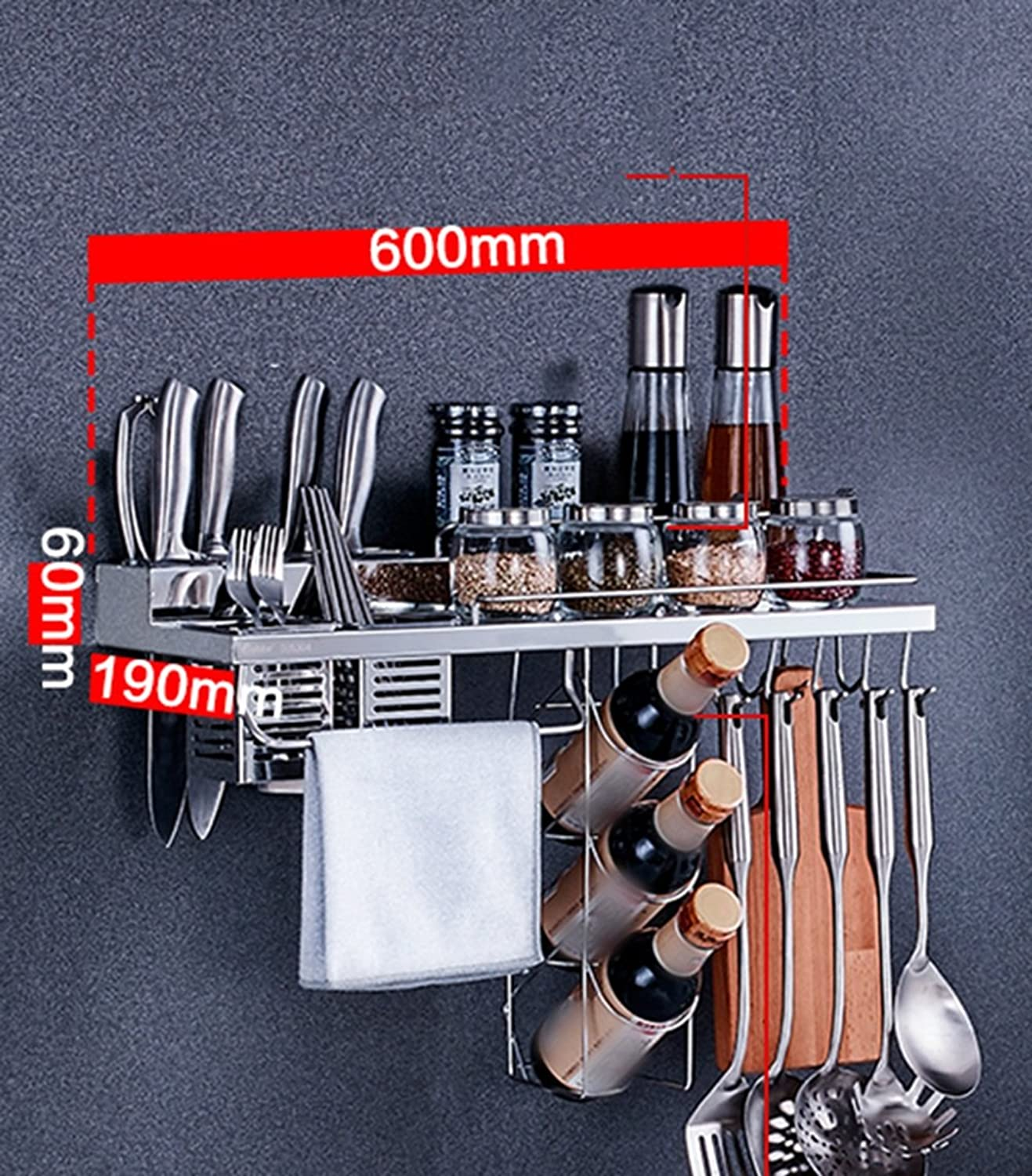 304 Stainless Steel Kitchen Shelf Wall Hanging Seasoning Pendant Kitchen Knife Turret Dressing Supplies Appliances Rack (Size   6  19  60cm)