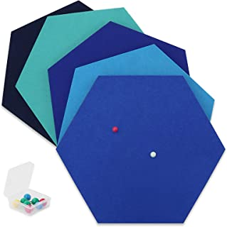 SEG Direct Hexágono de Fieltro Autoadhesivo | Set 5 Paneles Adhesivos 26 x 30 x 1 cm con 10 Chinchetas para Colgar fotos, ...