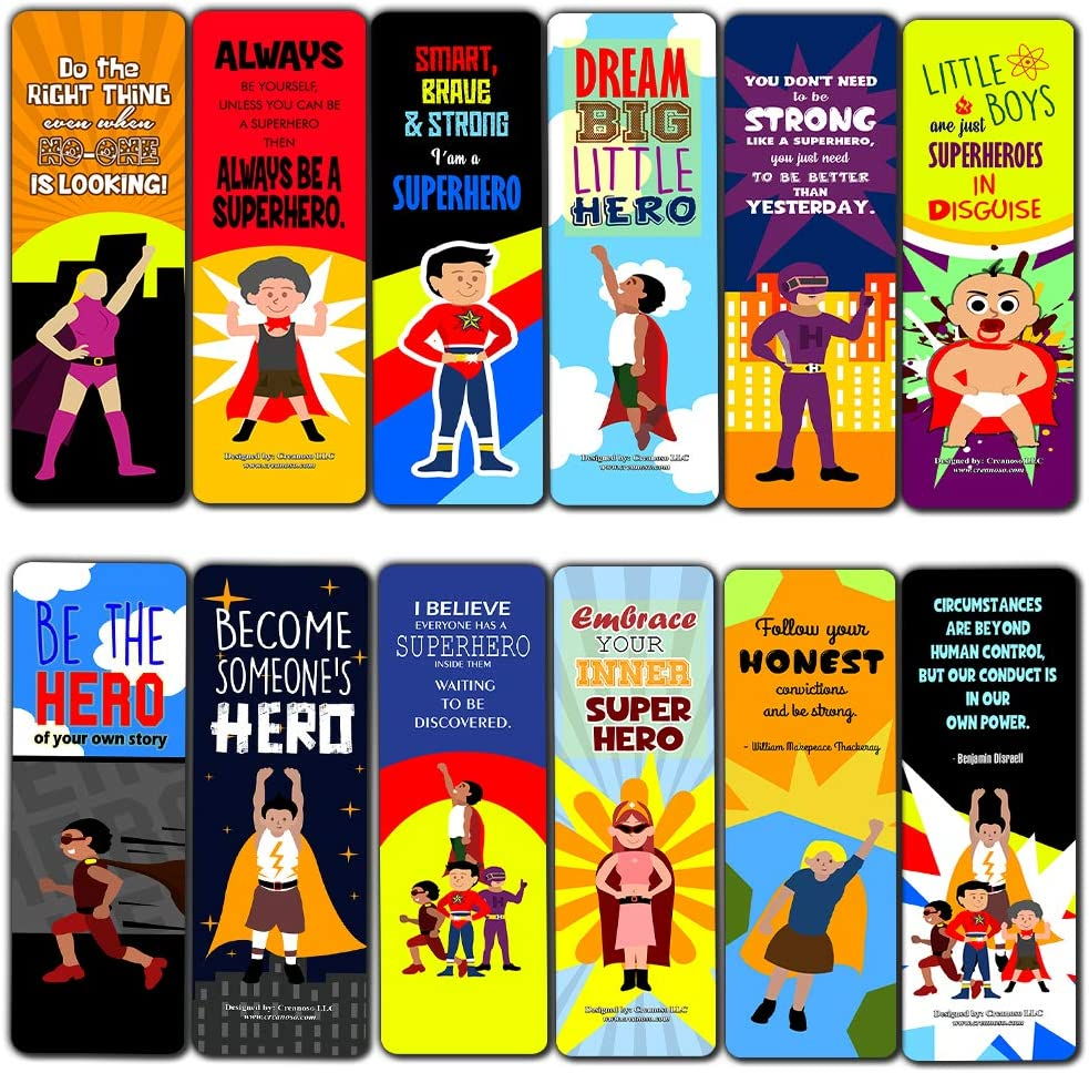 Amazon Com Creanoso Inspiring Inspirational Superhero Bookmarks For Kids 60 Pack Six Assorted Quality Bookmarks Bulk Set Awesome Bookmarks Gift Tokens Stocking Stuffers Gift Ideas Page Clips Office Products