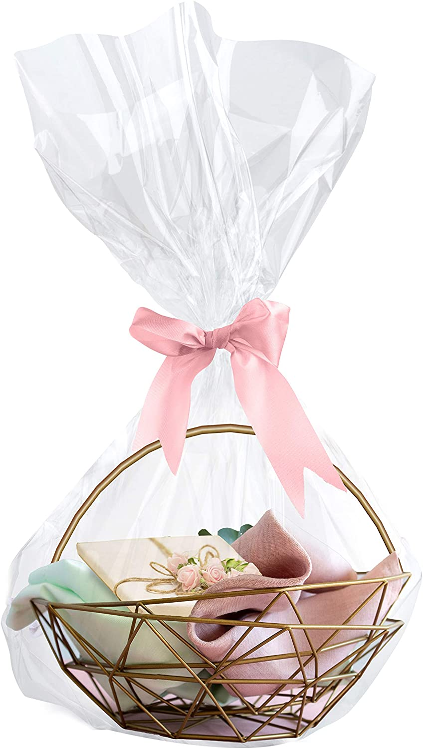 """Clear Basket Bags, 18 Pack Large Clear Cellophane Wrap for Baskets & Gifts 24""""x30"""" 0.75 Mil Thick : Health & Household"""