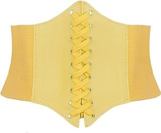 TOPTIE Elastic Lace-up Waist Belt Cinch Tied Belts Stretch Corset 7 Inch Width