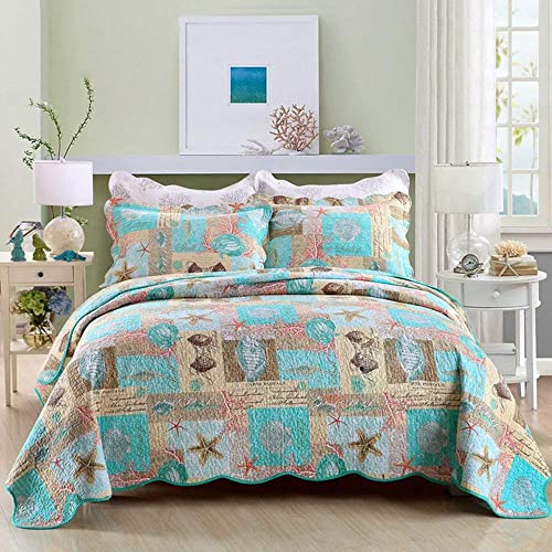 Twin Full Queen King Postcard Seashell Nautical Ocean Beach Coral Aqua Comforter