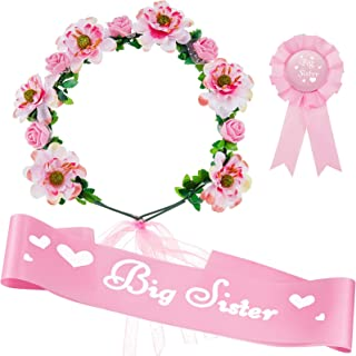 3 Pieces Big Sister Accessory Set, Include Big Sister Pink Satin Sash, Badge Pin and Flower Crown for Baby Shower Big Sist...