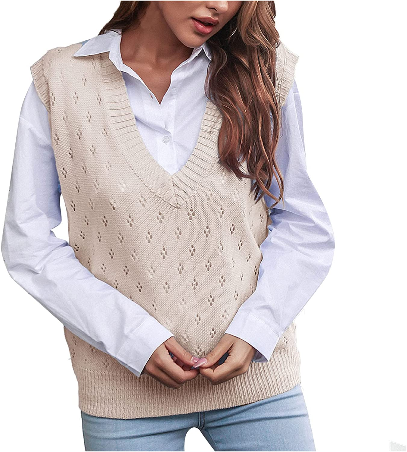 JMETRIE Womens Tops Knit Long Sleeves Crop Sweater Loose Knitted Pullover Winter Sweater Vest