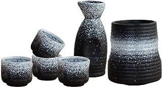 XinQing-Wine set مجموعة النبيذ السيراميك النمط الياباني، مجموعة نبيذ نبيذ نبيذ حار، مجموعة 5 قطعة