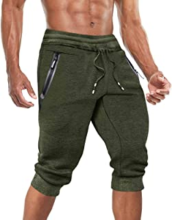BIYLACLESEN Men's 3/4 Joggers Capri Pants Gym Workout Below Knee Shorts with Zipper Pockets