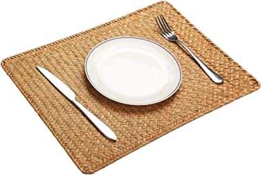 "Pack of 6 , Natural Seagrass Place Mat, 17"" x 11.8"", Hand-Woven Rectangular Rattan Placemats"