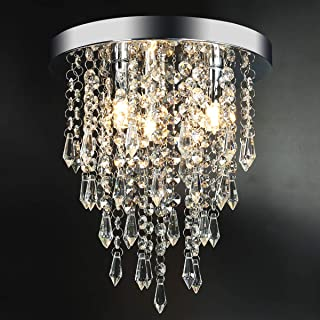 3 Lights Mini Crystal Flushmount Chandelier Fixture,Hong-in Crystal Ceiling Lamp, H10.4