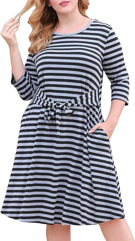 Nemidor Women's Casual 3/4 Sleeve Tie Waist T-Shirt Dress Stretchy Plus Size Midi Swing Dress with Pockets NEM255