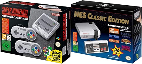 SNES and NES Nintendo Entertainment System Classic Bundle Region Free (Renewed)