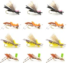 Hopper Trout Fly Assortment - Foam and Poly Body High Visibility Grasshopper Dry Fly Collection 1 Dozen Flies - Hook Size 10