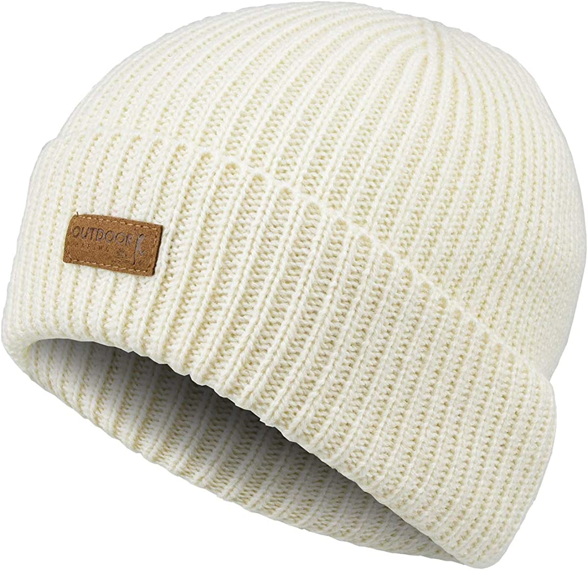 OUTDOOR SHAPING Winter Wool Beanie Knit Hat for Men & Women Ribbed Cuff Beanie Cap