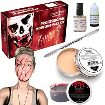 COKOHAPPY Halloween Party Stage Special Effects Wound Scar Nude Color Putty/Wax (1.76oz) + Fake Scab Blood (0.7oz) + ...