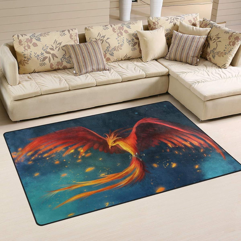 Area Rugs Doormats Art Bird Phoenix Fire Sky 5'x3'3 (60x39 Inches) Non-Slip Floor Mat Soft Carpet for Living Dining Bedroom Home