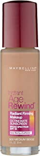 Maybelline New York Instant Age Rewind Radiant Firming Makeup, Medium Beige 300, 1 Fluid Ounce