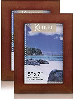 Klikel Walnut Picture Frame - Set of 2 5 X 7 Brown Wooden Photo Frame - Made of Real Wood with Glass Photo Protector - Wall Hanging and Table Standing Display