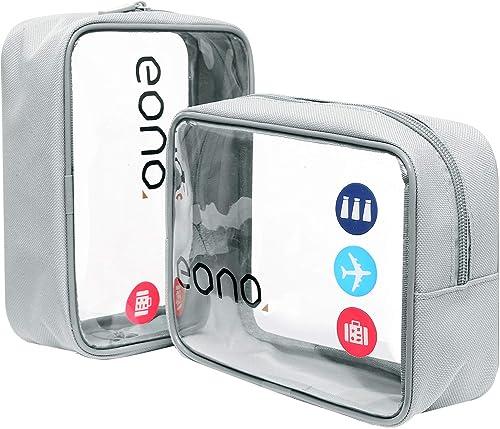 Amazon Brand - Eono Trousse de Toilette Transparente, Kit de Voyage, Trousse de Voyage étanche Sac Cosmétiques pour H...