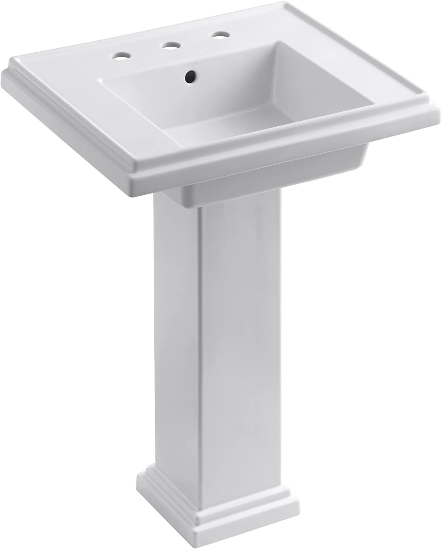 Kohler K 2844 8 0 Tresham 24 Inch Pedestal Bathroom Sink With 8 Inch Widespread Faucet Drilling White Pedestal Sinks