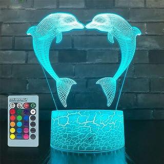 Illusion 3D Dauphin Lampe Dauphin Art Déco Lampe LED 3D Lampe Contrôle à distance 7/16 Couleurs Change Veilleuse USB Power...