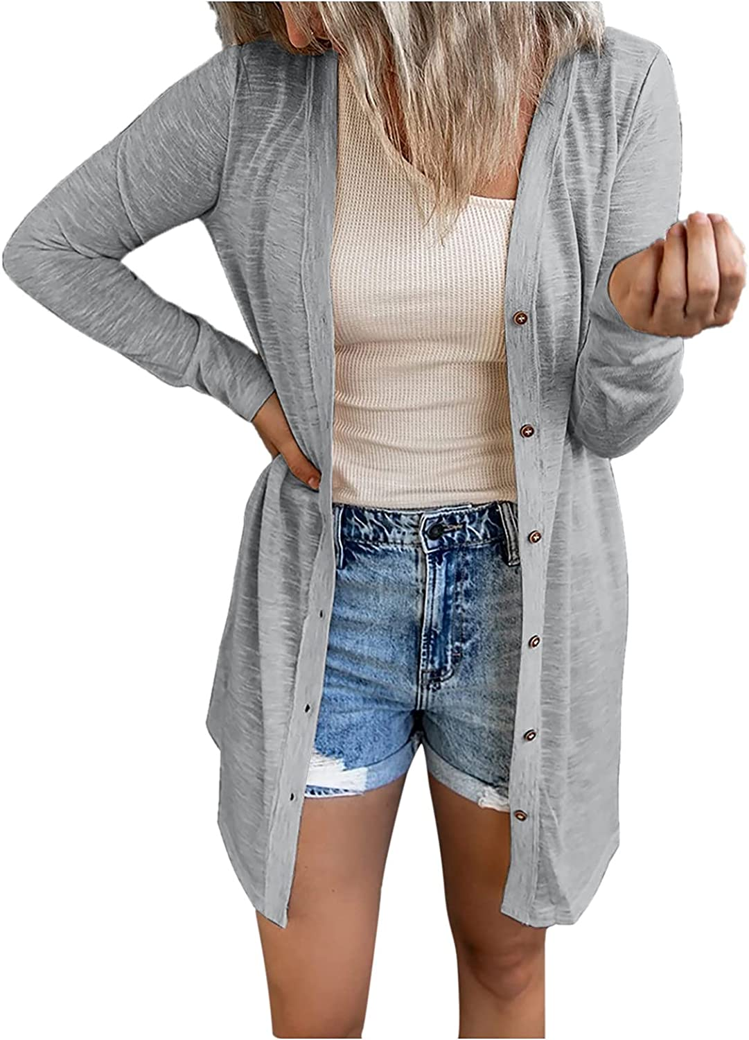 Women's Casual Loose Open Front Cardigans Soft Draped Waffle Chunky Long SleeveCardigan Outwear with Pockets