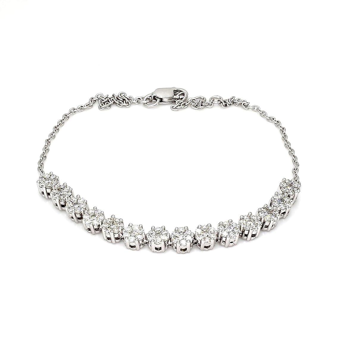 100% Diamond Ring 1 1/5 Carat Lab Grown Diamond Bracelet for Women Lab Created Diamond Bracelet SI-GH Quality 925 Silver Real Diamond Bracelet (Diamond Jewelry Gift for Women)