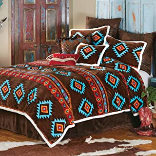 BLACK FOREST DECOR Turquoise Diamond Plush Bed Set - King