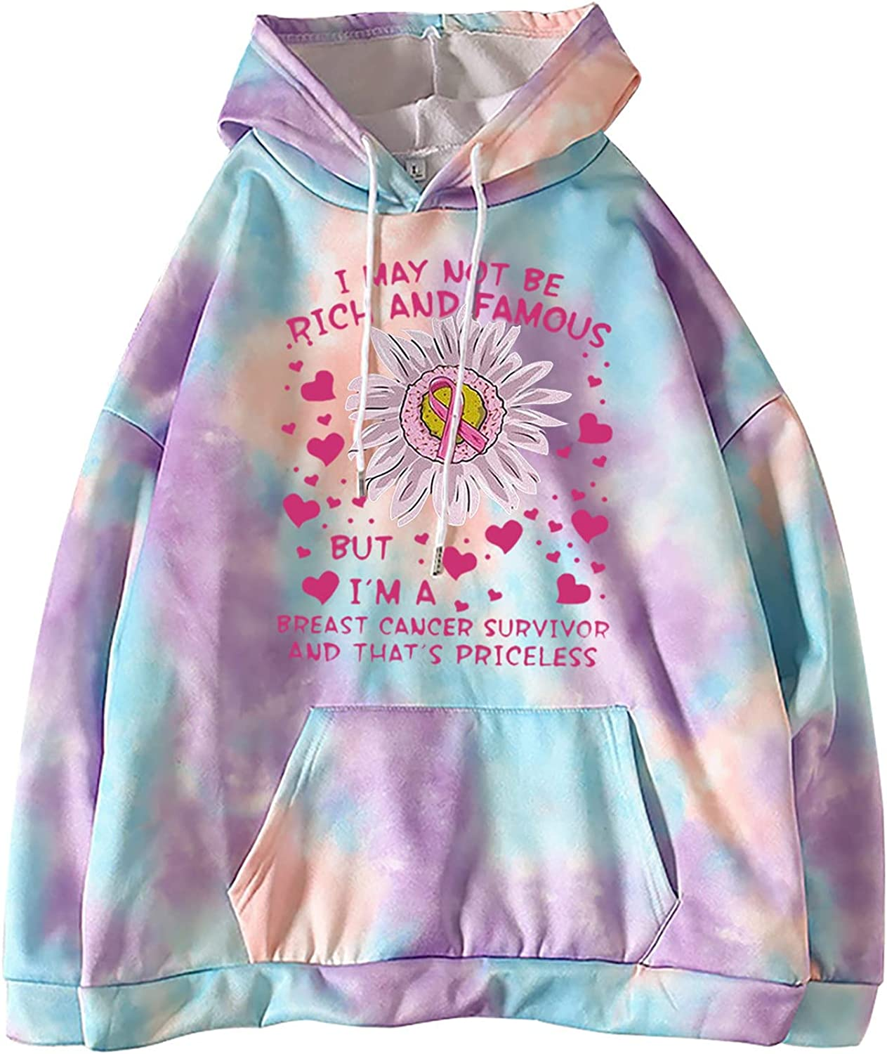 Breast Cancer Awareness Long Sleeve Print Hoodies For Women With Pockets Casual Cozy Loose Tie Dye Sweatshirt Tops
