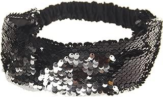 Sequin Headband - Mermaid Sequin Headbands with Elastic Cord - Reversible Color Changing Flip Sequins Wide Headband - Hair Accessories Girls Women 1Pc Party Supplies (Black)
