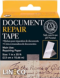 "Lineco Self-Adhesive Document Repair Tape, 1"" by 35', Transparent 1""X35'"