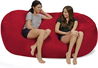 Chill Sack Bean Bag Chair: Huge 7.5' Memory Foam Furniture Bag and Large Lounger - Big Sofa with Soft Micro Fiber Cover - Cinnabar
