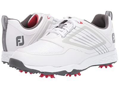 FootJoy Fury Cleated (Little Kid/Big Kid) (White/Silver) Golf Shoes