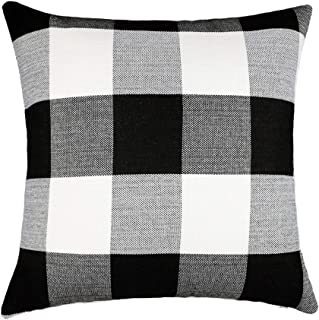 4TH Emotion Black and White Buffalo Checkers Plaids Cotton Linen Throw Pillow Cover Cushion Case Retro Farmhouse Decorative for Sofa 18 x 18 Inch