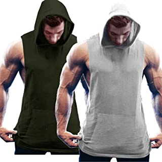 COOFANDY Men`s 2 Pack Workout Hooded Tank Tops Bodybuilding Muscle Cut Off T Shirt Sleeveless Gym Hoodies