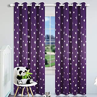 Kotile Thick Room Darkening Curtains for Girls Bedroom, Foil Print Star Patern Grommet Window Curtain Drapes for Nersery Room, W52 x L84, 2 Panels, Royal Purple