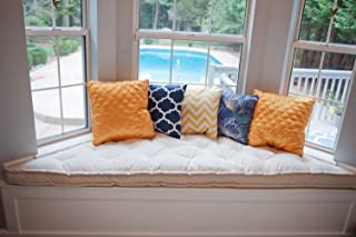 """Home of Wool Bay Window Trapezoid Cushion / 3"""" Thickness/Oeko-Tex Certified Materials/Custom Sizes, Shapes & Fabrics Available - Grey Striped Linen Mini Piping"""