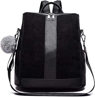 Fashion Suede Leather Design Women's Backpack Female Hairball Big Patchwork Shoulder Bags