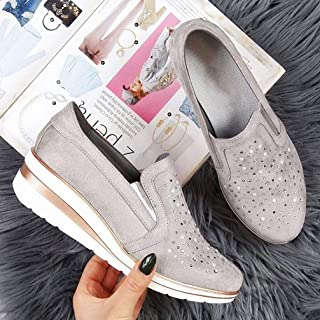 Female Large Size Sneakers 2020 Casual Women's Rhinestones Breathsble Ladies Flats Vulcanized Shoes Moccasins Shoes Loafers Comfort Woman Shoes,Gray,35