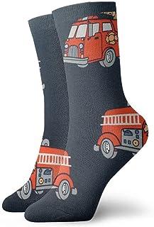Camión de bomberos Azul marino Calcetines personalizados Tobillo Medias atléticas Calcetines casuales 30cm Para hombres Mujeres