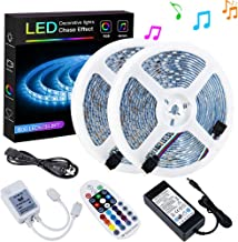 SPARKE LED Strip Lights Sync to Music Waterproof 32.8ft(10M) 600LEDs Flexible RGB 12V SMD5050 LED Tape Light with RF Music Controller and UL Listed 6A Power Supply