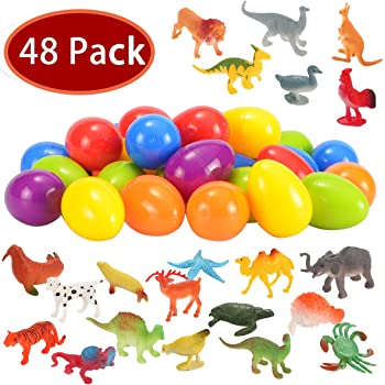 Each Perfect for Easter Egg Hunt Fun Assortment Surprise of Creatures in Plastic Eggs 3.2 x 2.2 36 Dinosaurs and Animals in Easter Eggs Birthdays and Party Favors BetterLine 8cm x 5.5cm